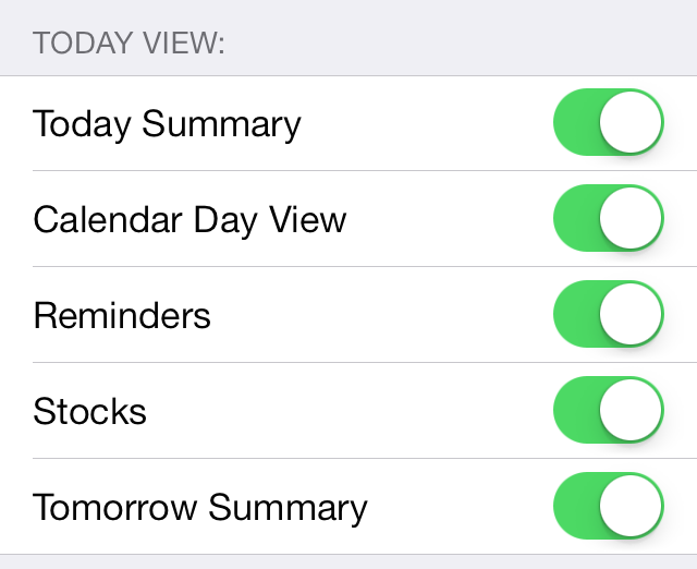 iOS 7 Reminders Notification Center Settings