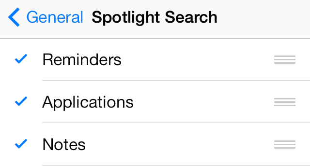 iOS 7 Reminders Spotlight Search Settings