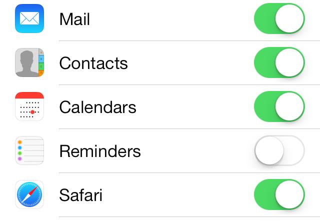 iOS 7 Reminders iCloud