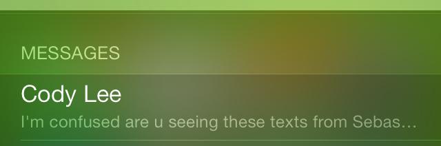 iOS 7 Spotlight Messages