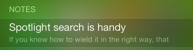iOS 7 Spotlight Notes