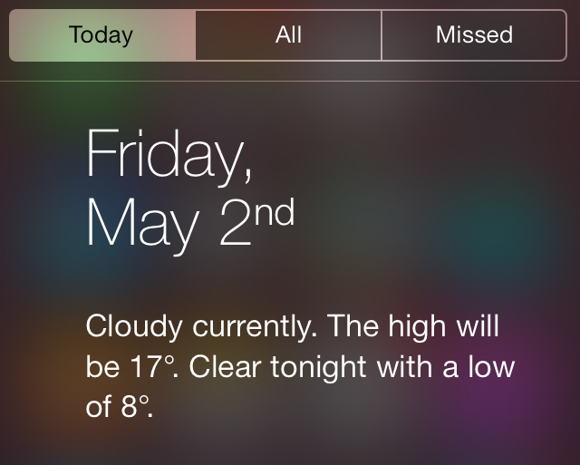 iOS 7 Weather Notification Center Today View Today Summary