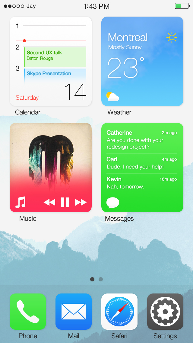 iOS widgets concept (Jay Machalani, iPhone screenshot 002)