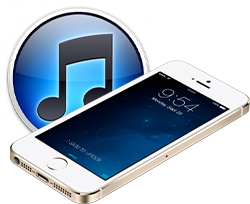 iTunes logo and iPhone 5s