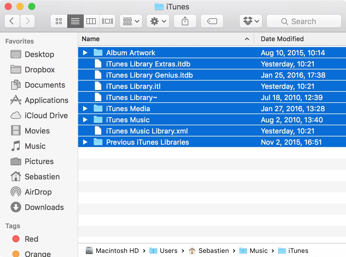 save all files in iTunes folder