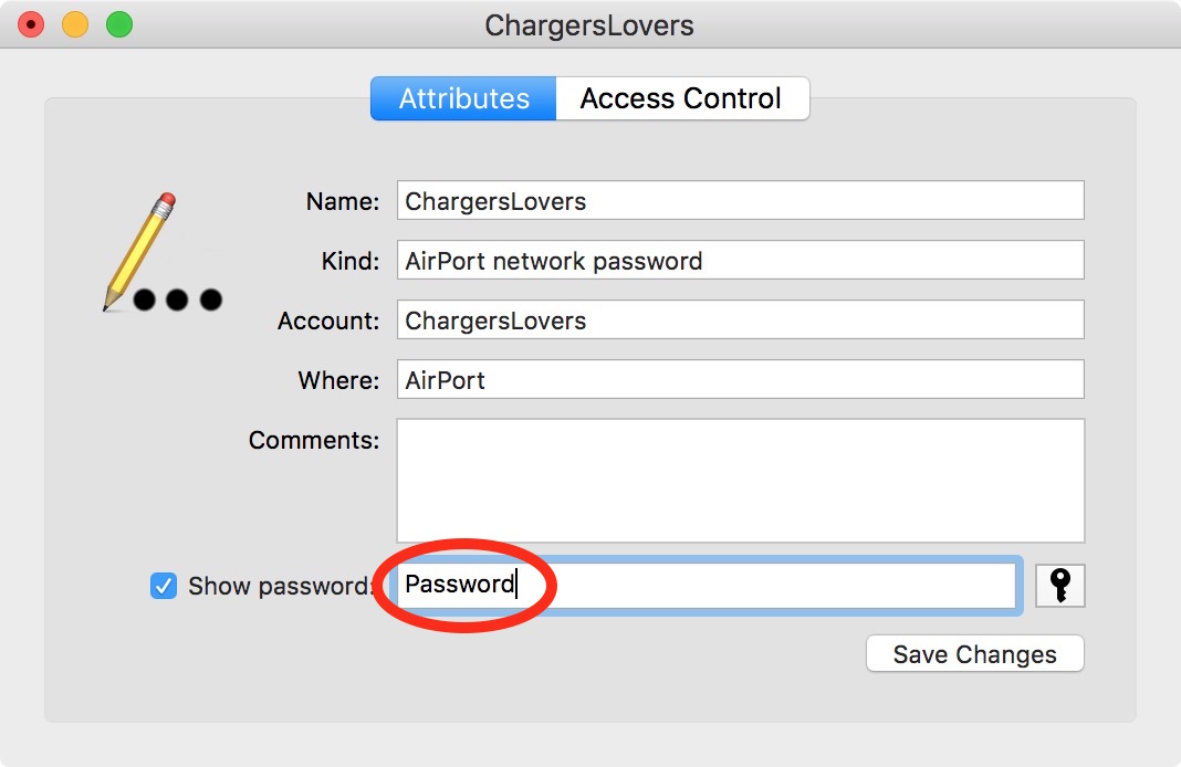 display my wireless password mac