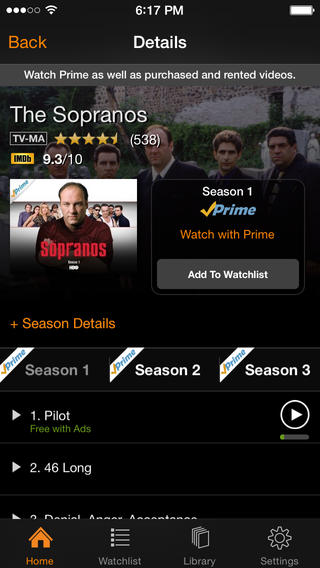 Amazon Instant Video 2.7 for iOS (iPhone screenshot 002)