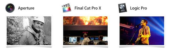 Aperture Final Cut Pro X Logic Pro