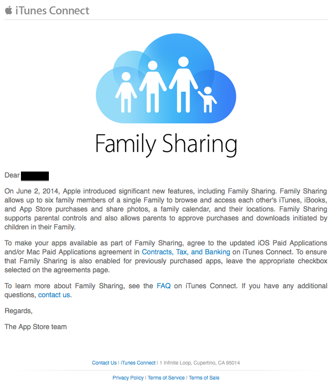 Apple email to developers (iOS 8 Family Sharing)