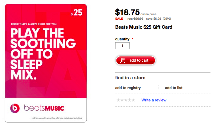 Beats Music gift cards (Target promo 001)