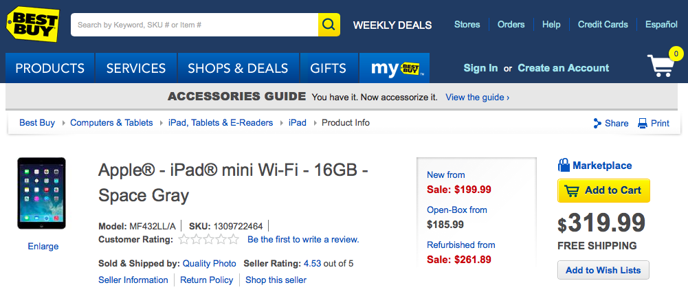 Best Buy iPad mini 199USD (web screenshot 001)
