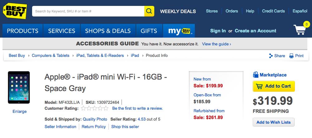 Best Buy iPad mini 199USD (web screenshot 001)