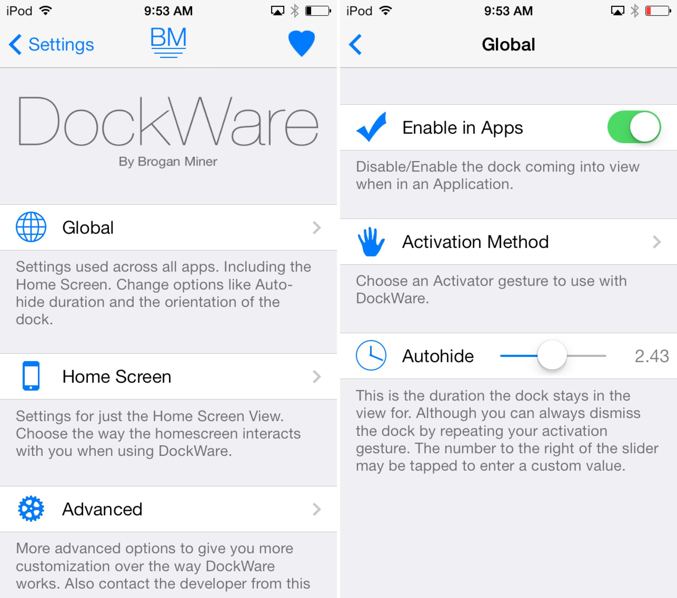 DockWare Settings