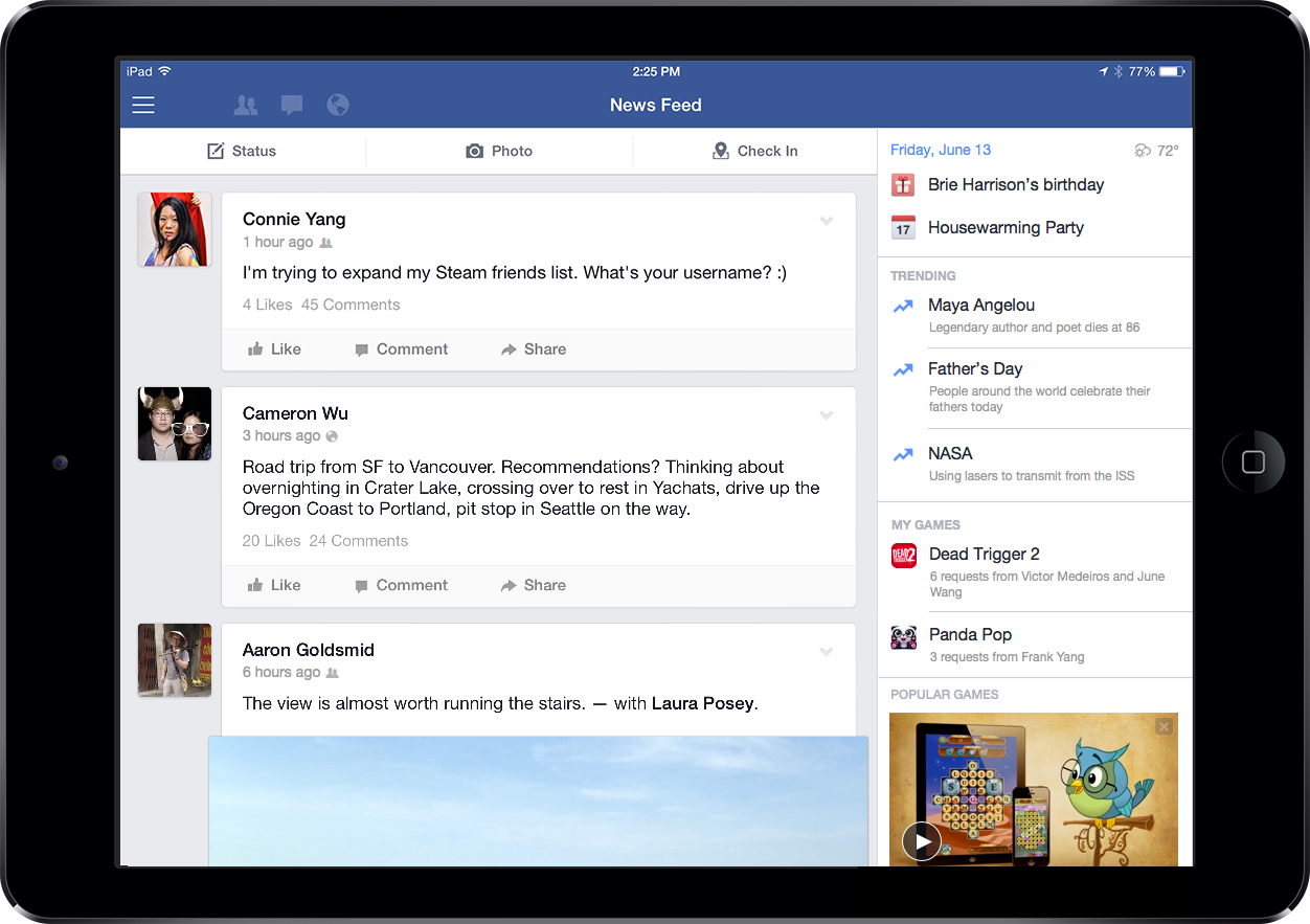 Facebook for iPad (Entertainment bar 001)