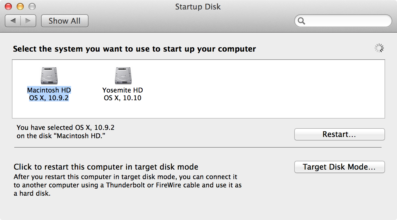 OS X Startup Disk