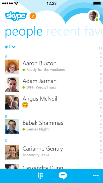 Skype 5.0 para iOS (captura de pantalla de iPhone 001)
