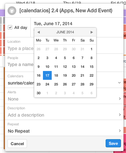Sunrise Calendar introduces apps: Evernote, Tripit, Songkick