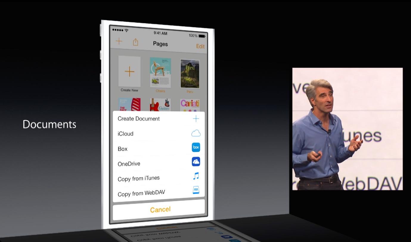 WWDC 2014 keynote (App Extensions, Storage Providers 001)