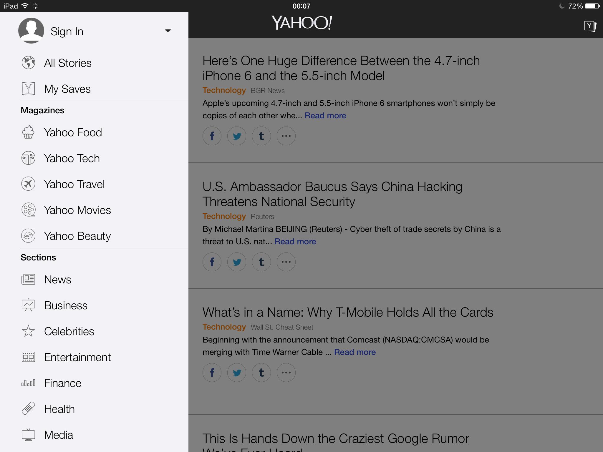 Yahoo 5.0 for iOS (iPad screenshot 001)
