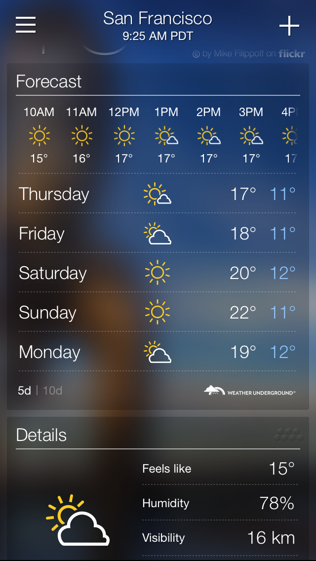 new in ios 8 weather 10 day forecast today summary