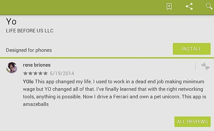 Yo Play store review