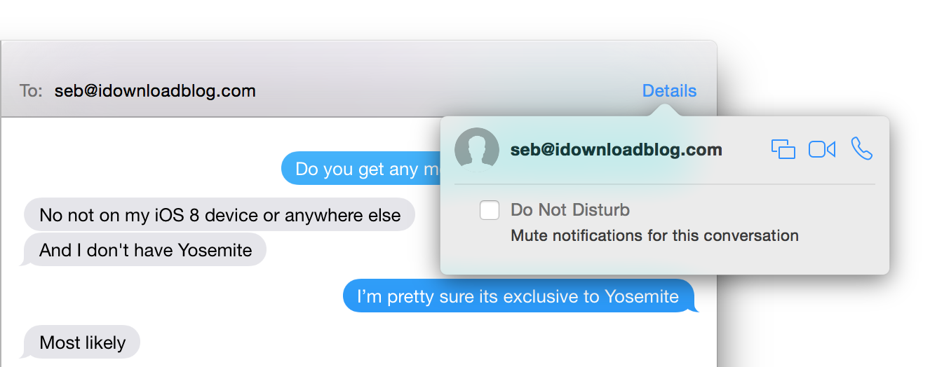Yosemite OS X Messages