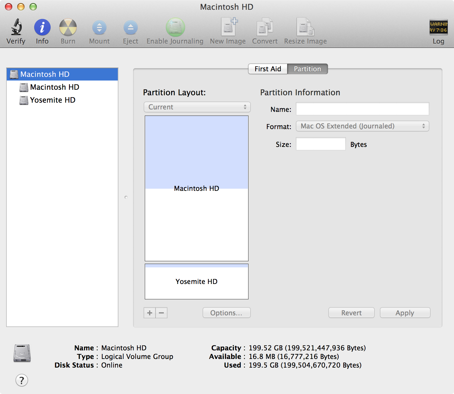 disk utility Yosemite partition created