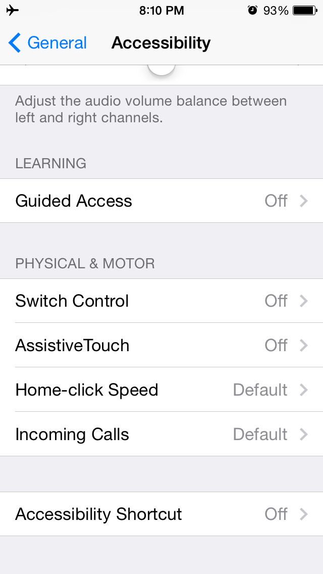 iOS 7 (Accessibility, Interaction)
