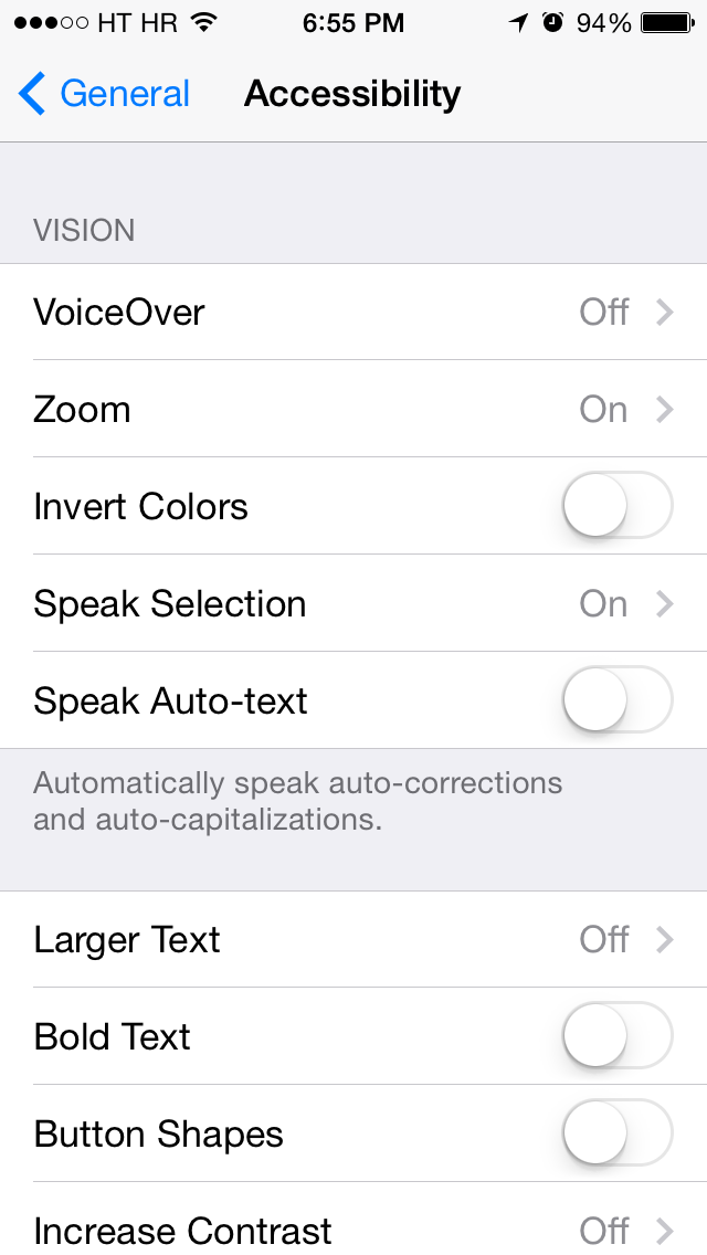 iOS 7 (Accessibility, Vision 001)