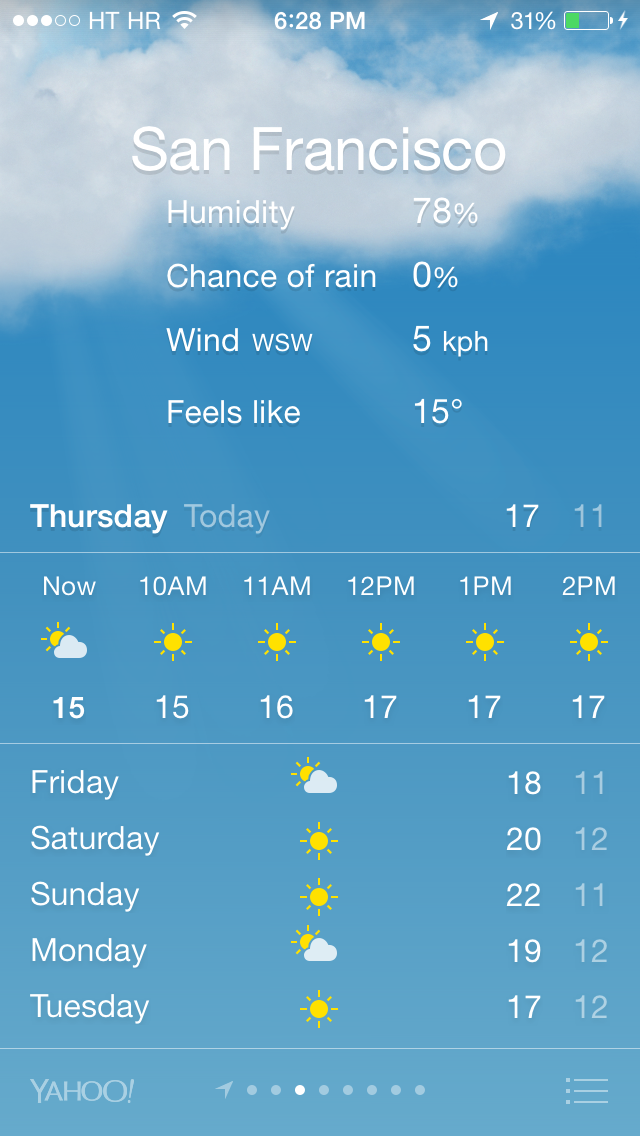 iOS 7 (Weather, 5-day forecast, iPhone screenshot 001)