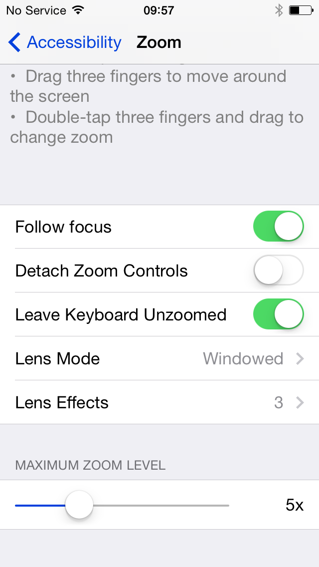 iOS 8 (Accessibility, Zoom 001)