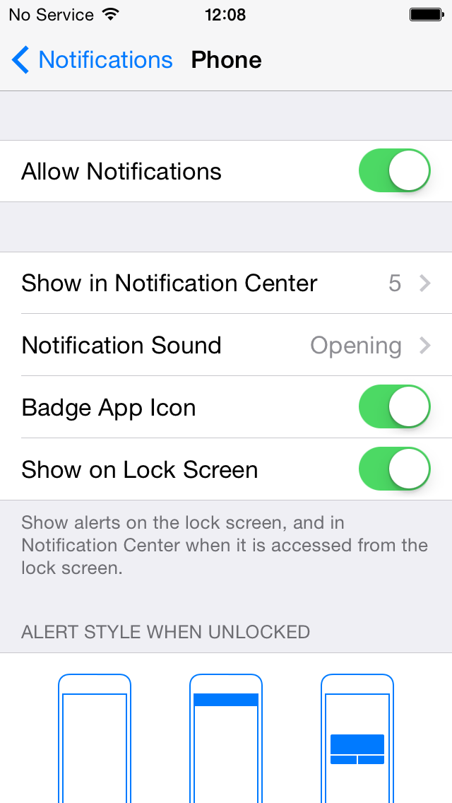 iOS 8 Beta 2 (Notifications, Allow Notiifcaations)