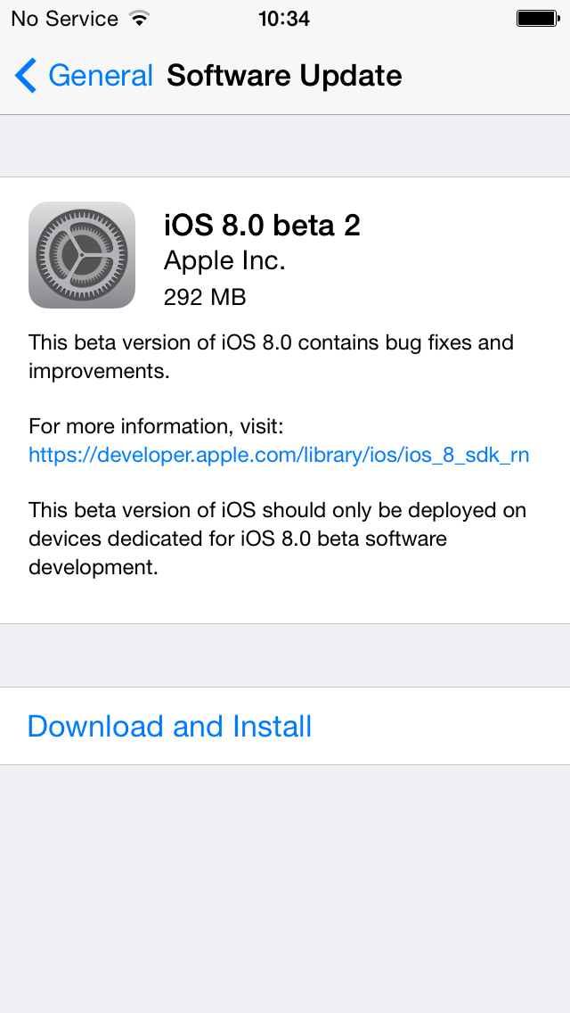 iOS 8 Beta 2 (OTA prompt)