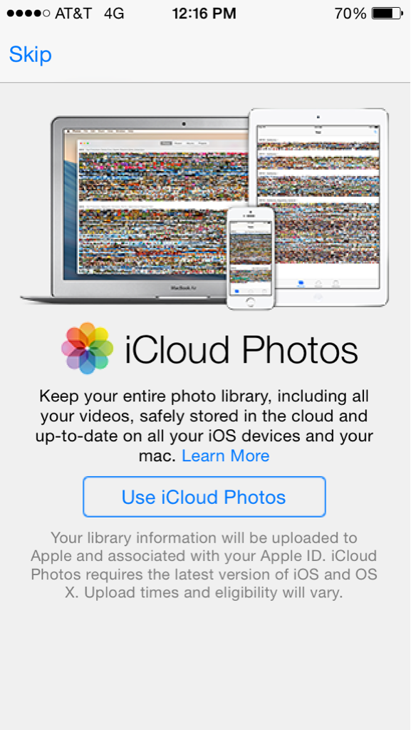 iOS 8 Beta 2 (iCloud Photos welcome page)
