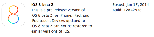 iOS 8 Beta 2 in Dev Center