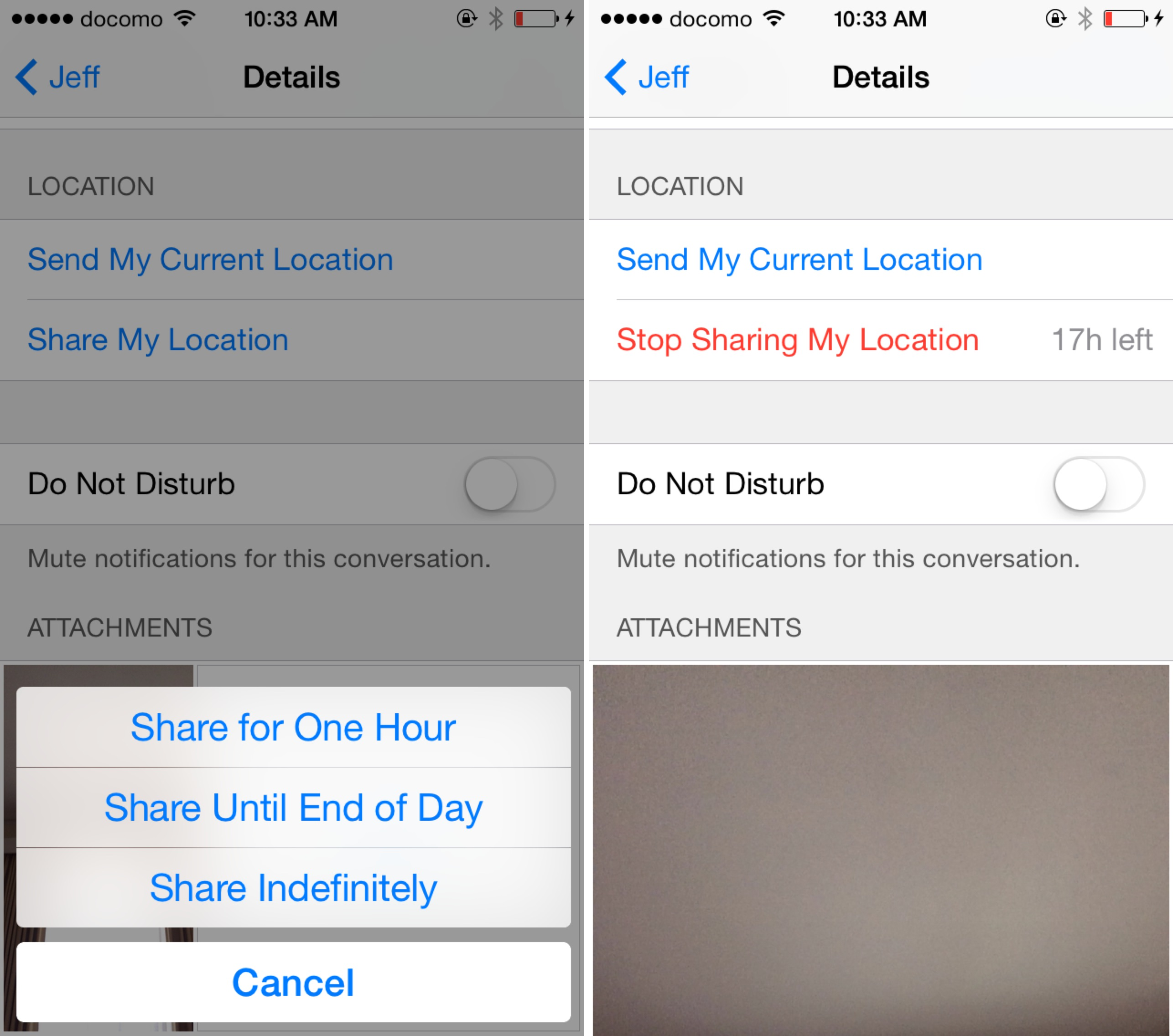 iOS 8 Messages Location Sharing