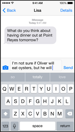 iOS 8 QuickType (Messages 001)
