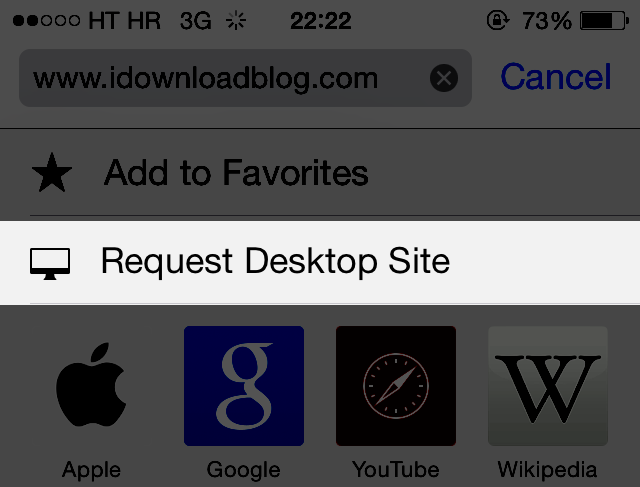 iOS 8 (Safari, Request Desktop Site teaser)