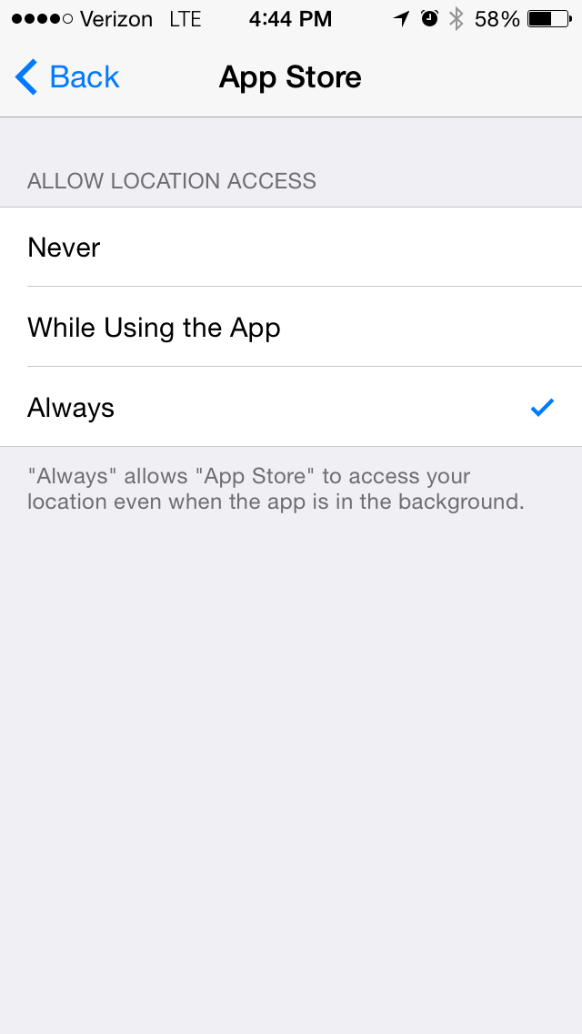 iOS 8 (Settings, Privacy, App Store)