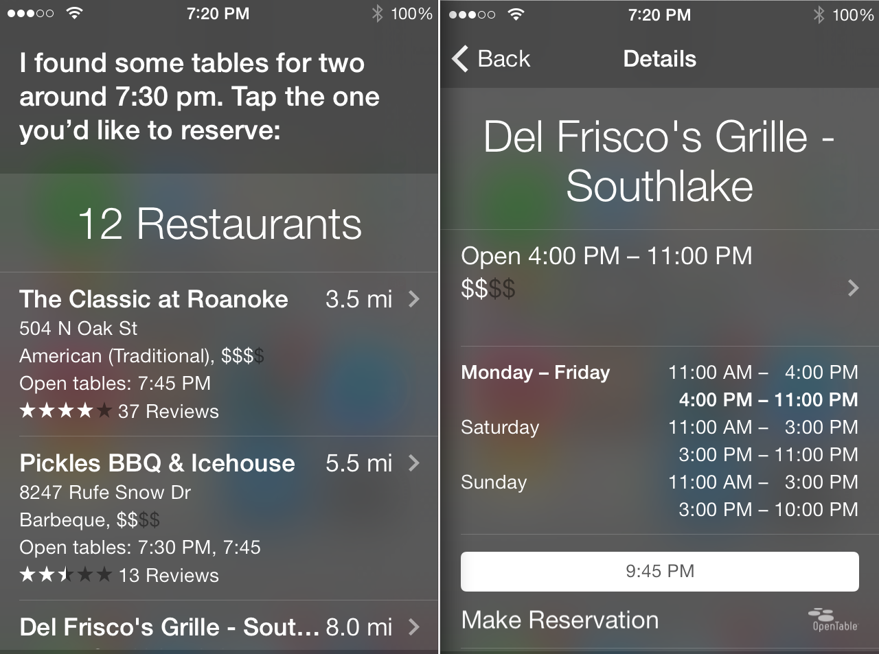 open table siri