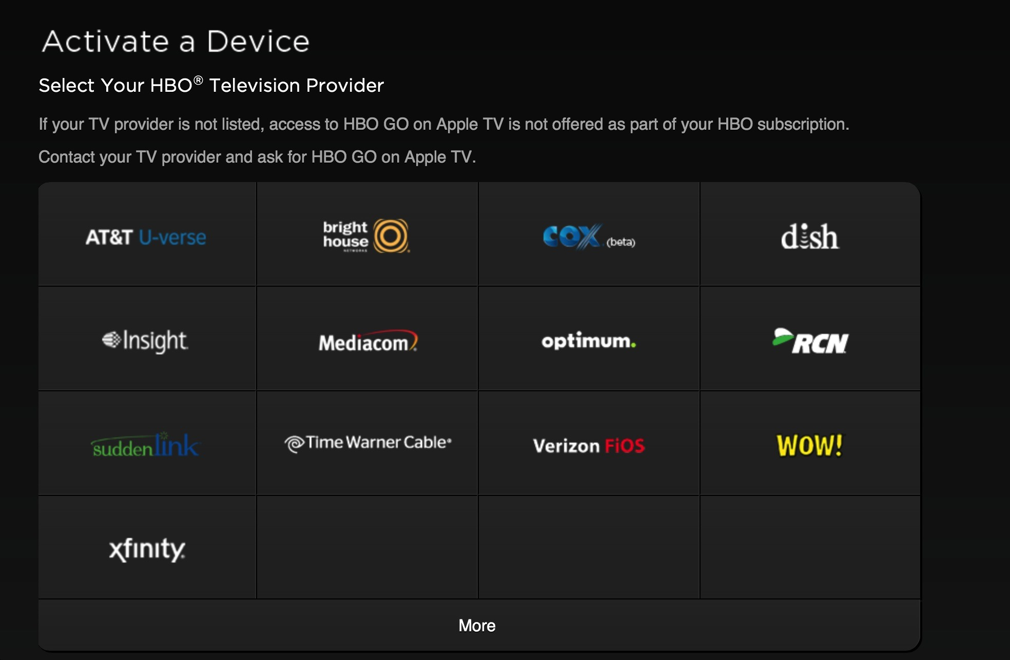 Apple TV (HBO Go activate 001)