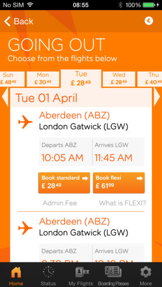 EasyJet 2.7.5 for iOS (iPhone screenshot 002)