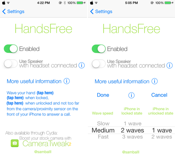 HandsFree-settings-panel