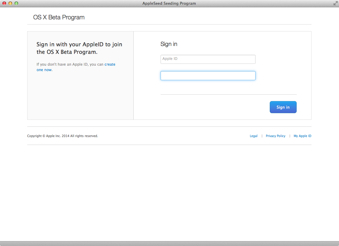 OS X Yosemite Public beta (step 2)