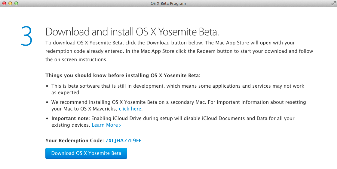 OS X Yosemite Public beta (step 5)