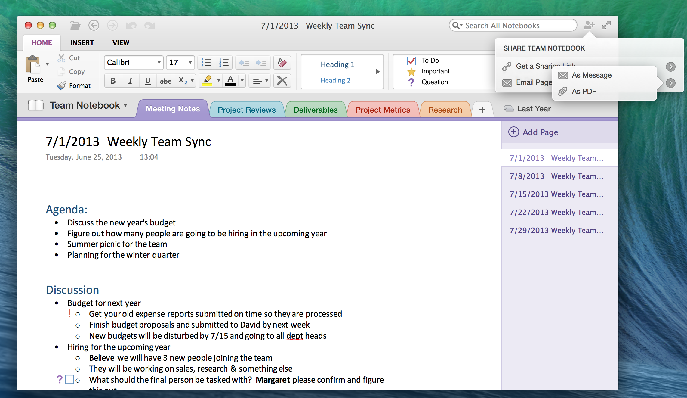 OneNote for Mac Email)