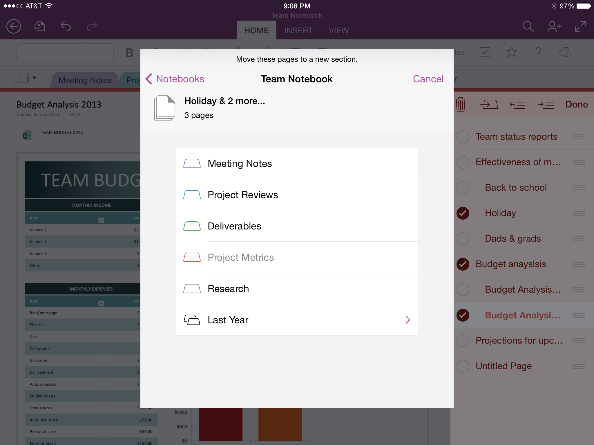 OneNote for iPad (Move Pages)