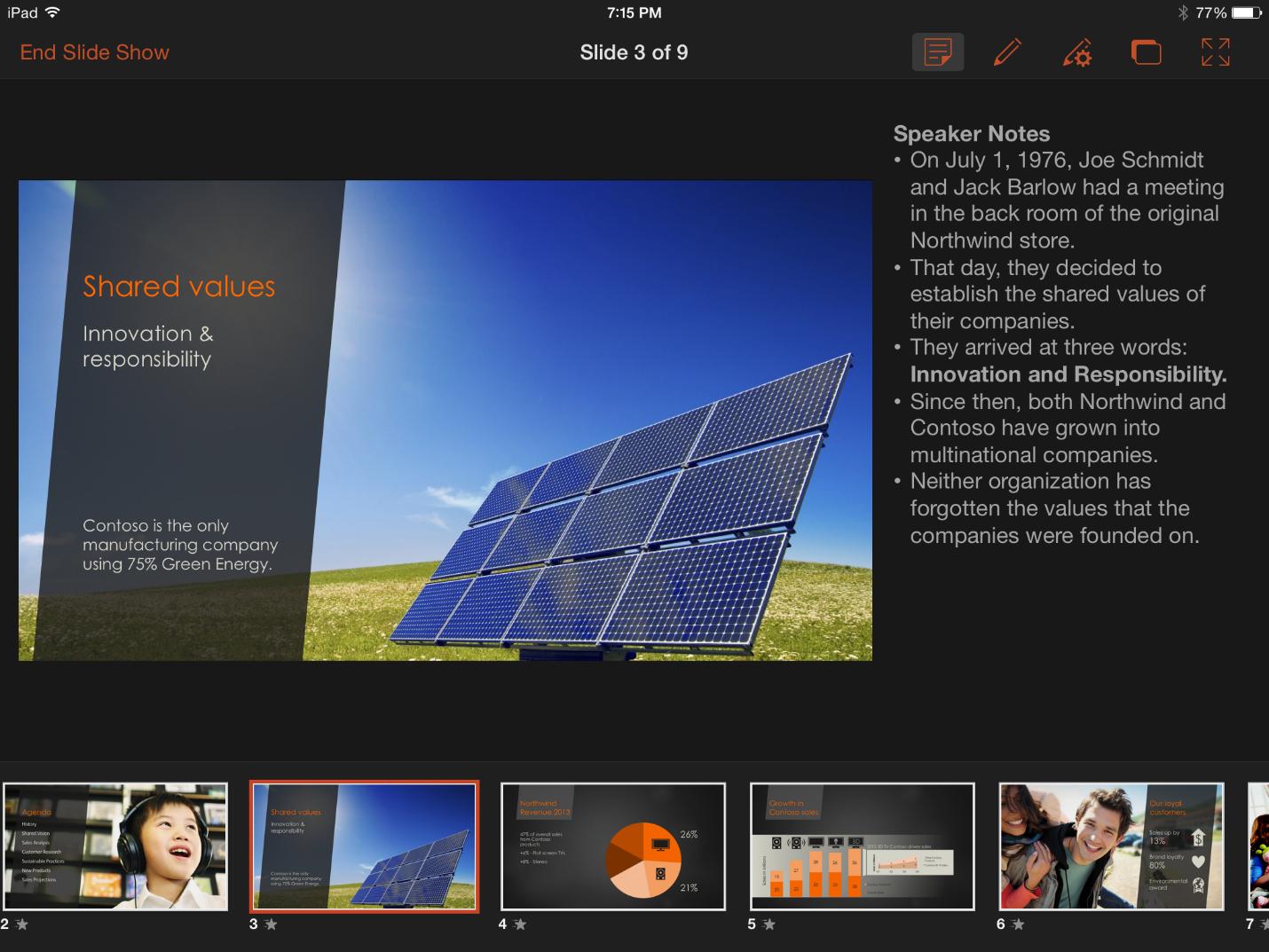 PowerPoint 1.1 for iiPad (Presenter View)