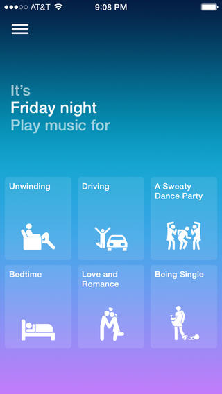 Songza 3.2.5 for iOS (iPhone screenshot 002)