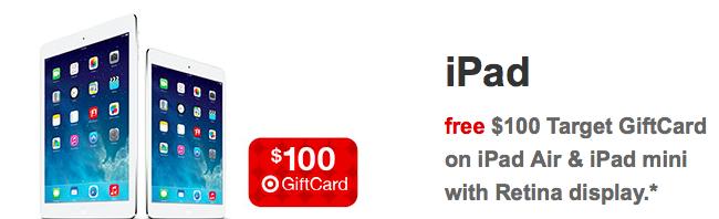 Target iPad 100USD Gift card promo
